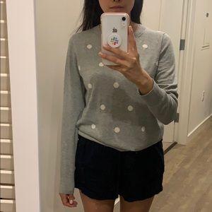 JCrew polka dot sweater with scalloped neckline